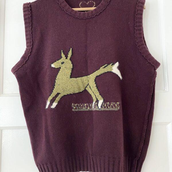 Griffin Woolen Cardinal Purple Deer Gilet