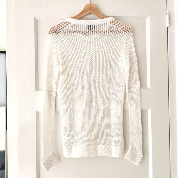 Facetasm Unisex S/S'16 White Fishnet Lonsleeve Knit
