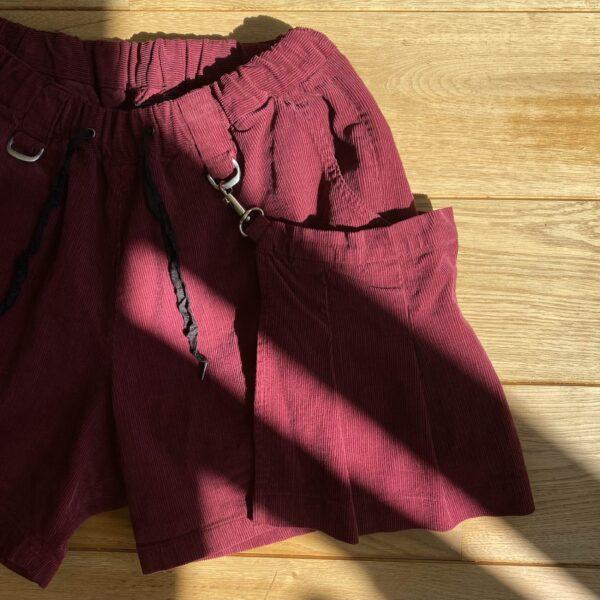 JieDa Corduroy Removable Apron Shorts