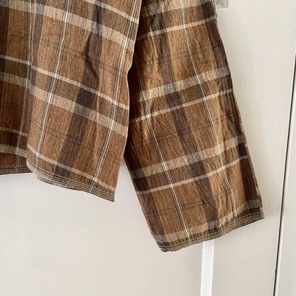 Kapital Boxy Brown Checkered Madras Zipped Top